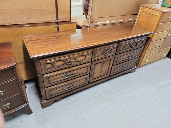 Nine Drawer Wide Dark Wood Dresser with Two Doors