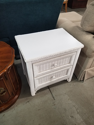 Two Drawer White Wicker Wood End Table Nightstand