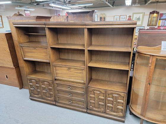 Three Piece Tall Dark Wood Entertainment Cabinets