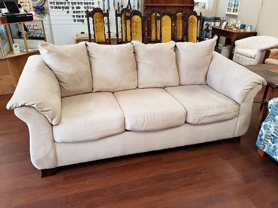 Large Comfy Beige Tan Upholstered Sofa Couch