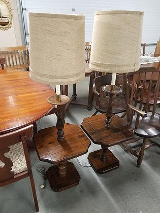 Pair of Dark Pine Wood Floor Lamps w/ Drum Shades #L63