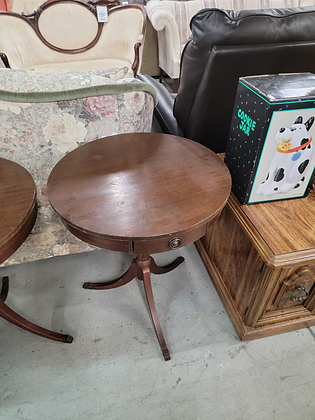 Dark Wood Round Drum Table Accent Table w/ Single Drawer (2 Of 2)