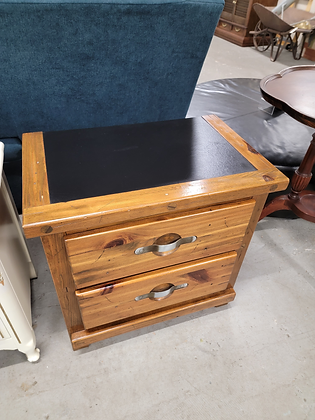 Two Drawer Country Pine Wood End Table Nightstand