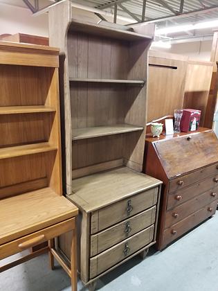 Three Drawer Small Dresser Chest W/ Bookshelf Hutch Top