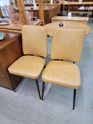 Pair of Retro Upholstered Chairs with Metal Legs