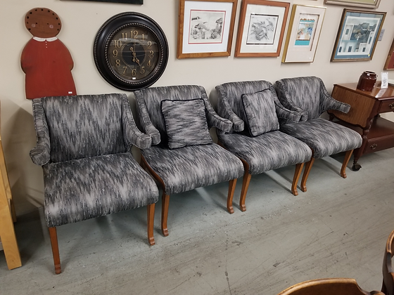 Matching Set of Four Gray Upholstered Dining Chairs