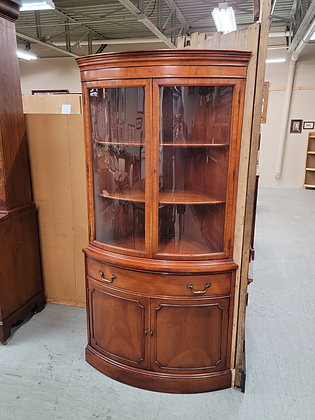 Curved Glass Front Mahogany Wood Corner Cabinet w/ Single Drawer