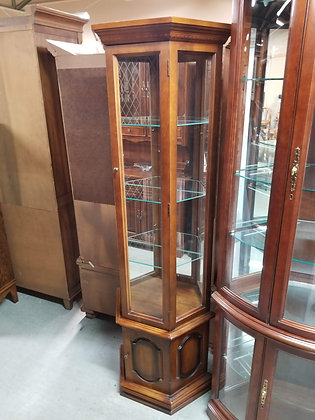 Lighted Glass Front Wood Curio Cabinet w/ Glass Shelving