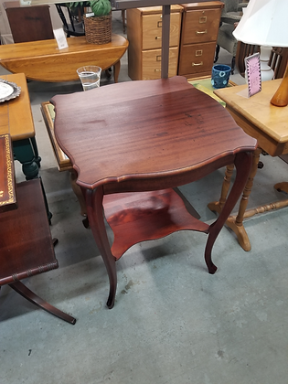 Two Tier Mahogany Wood Accent Table Stand