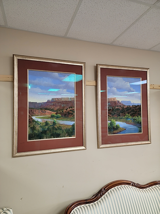 Pair of Framed Wall Art of River & Trees #A153