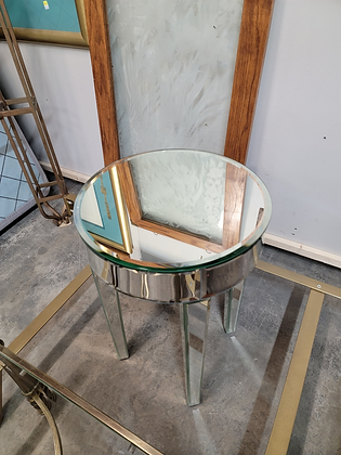 Round Mirrored Accent Table Stand