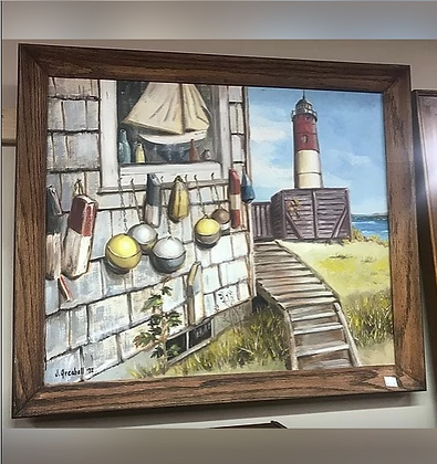 Beach / Lake House with Lighthouse in Background Wall Art #A24