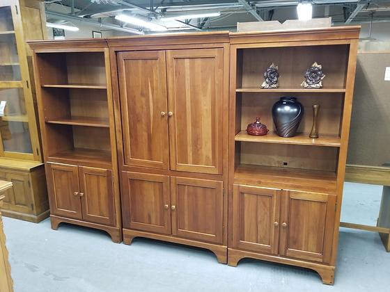 Large Three Piece Wood Entertainment Cabinet / Shelves