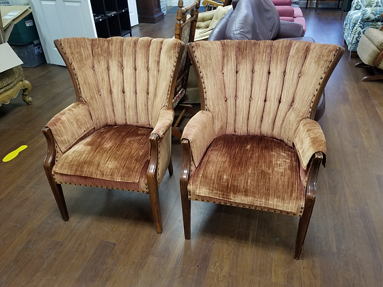Matching Pair Clam Shell Tufted Back Upholstered Accent Chairs