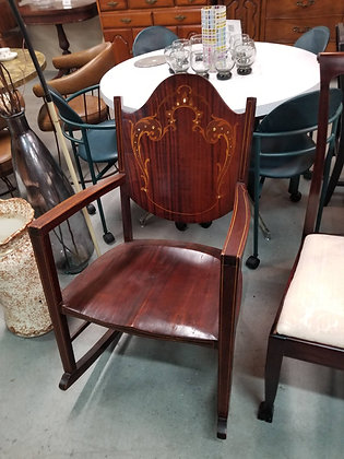 Antique Mahogany Wood Rocking Chair w/ Mother of Pearl & Wood Inlay