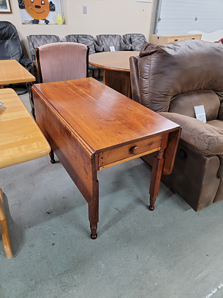 Solid Wood Drop Leaf Dining Table with Drawer