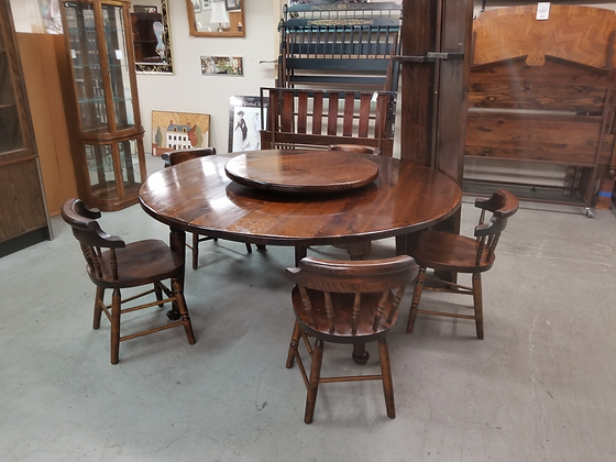 Large Dark Pine Wood Dining Table w/ 5 Chairs & 3 Leaves + Lazy Susan