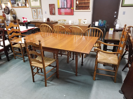 Harden Drop Leaf Dining Table w/ Four Ladderback Chairs + Rush Seats