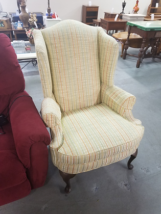 Yellow Plaid Upholstered Wing Back Accent Chair