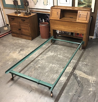 Twin Size Brandt Ranch Oak Cubby Headboard w/ Metal Frame (1 of 2)