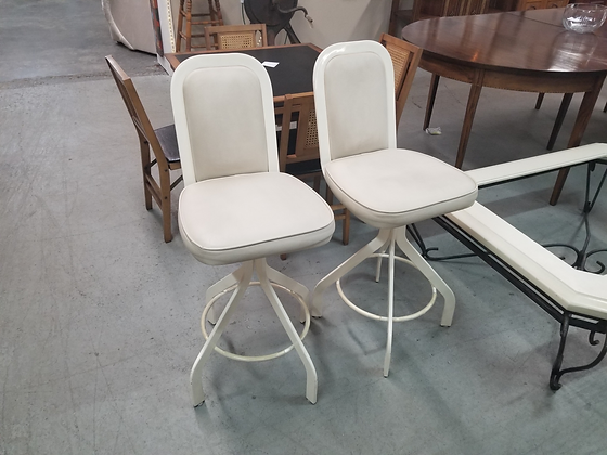 Matching Pair Of White Counter Height Swivel Stools w/ Metal Frame