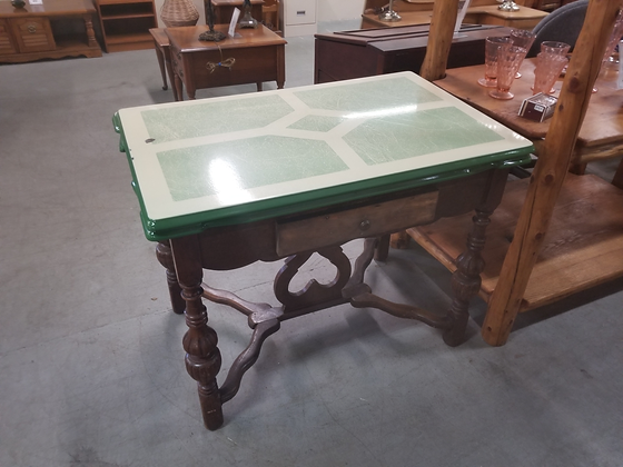 Antique Enamel Top Draw Leaf Wood Dining Table w/ Faux Drawer