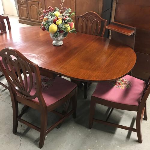 Dark Wood Drop Leaf Dining Table W 4 Chairs Additional