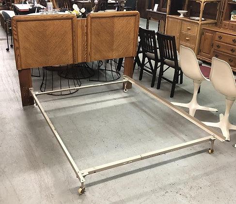 Queen / Full Adjustable Size Oak Wood Headboard w/ Metal Bed Frame