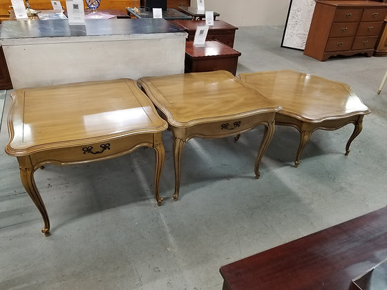 Three Piece Set French Provincial Wood End Tables & Coffee Table