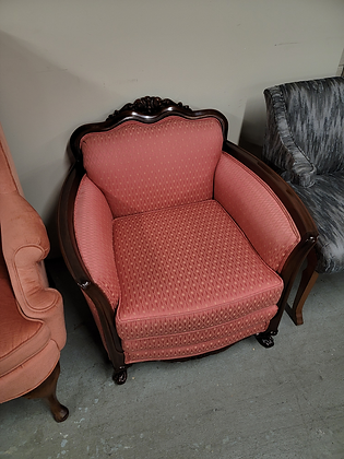 Ornate Dark Wood Accent Chair w/ Red Diamond Pattern Upholstery