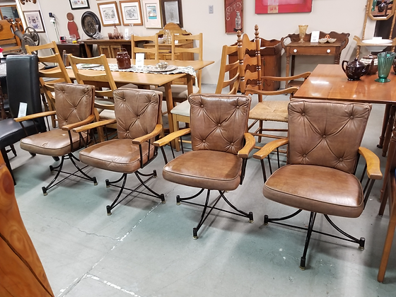 Set Of Four Brown Leather Upholstered Swivel Dining Chairs Metal Frame