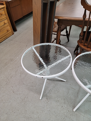 White Round Metal Glass Top Accent Stand (3 of 3)