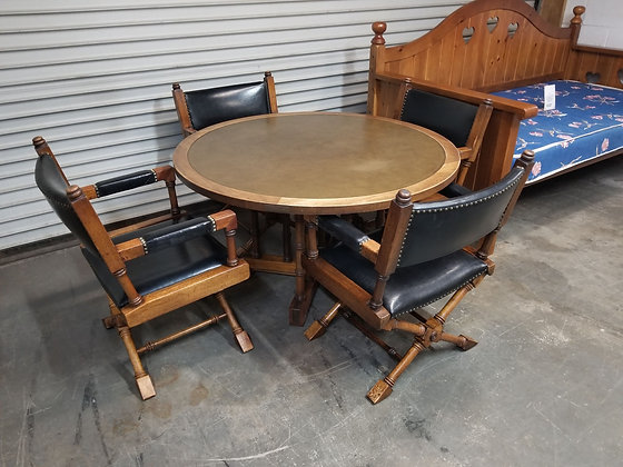 Round Leather Top Poker / Game / Dining Table w/ Four Leather Chairs