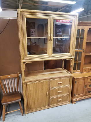 Three Drawer Bamboo China Cabinet Hutch w/ Two Glass Doors