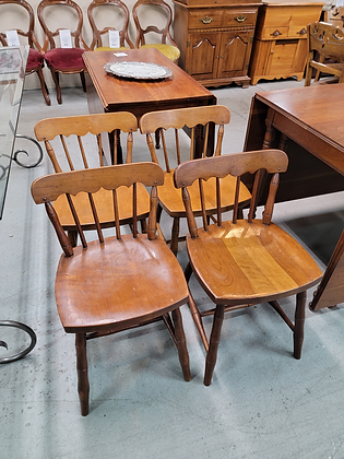 Set of Four Spindle Back Wood Dining Chairs by Stickley