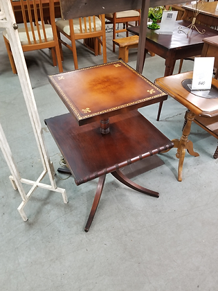 Two Tier Leather Top Wood Accent Stand W/ Pedestal Base
