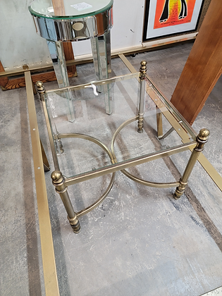 Square Glass Top Metal Accent Table Stand