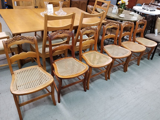 Set of Six Ladder Back Dining Chairs w/ Cane Seats & Floral Carvings