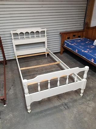 Twin Size White Wood Bed Frame W/ Metal Side Rails & Wood Slats