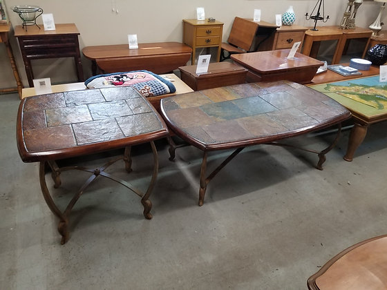 Slate Top Coffee Table & End Table Set w/ Heavy Metal Bases