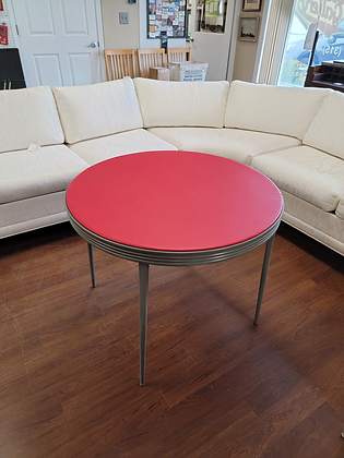 Round Red Top Folding Metal Table