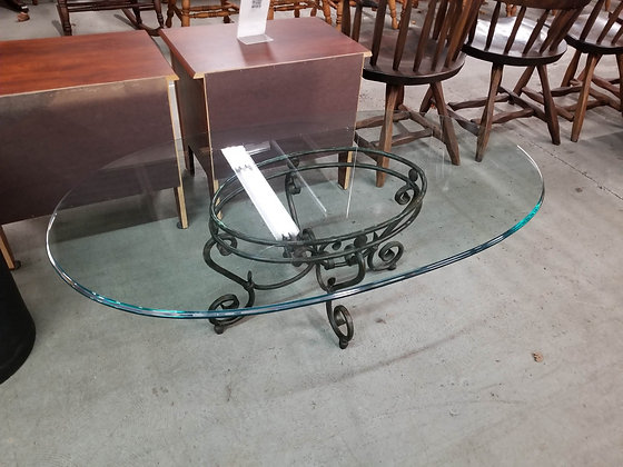Oval Glass Top Coffee Table w/ Wrought Iron Base