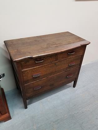 Antique Four Drawer Dark Wood Dresser Chest w/ Locking Drawers