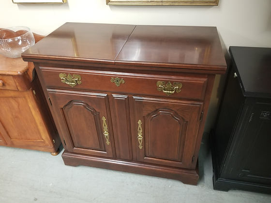 Harden Flip Top Mahogany Wood Server / Buffet with Single Drawer