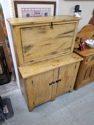 Early Primitive Light Wood Drop Front Cabinet / Cupboard
