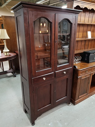 Antique Early Glass Front Dark Wood China Cabinet w/ Two Drawers