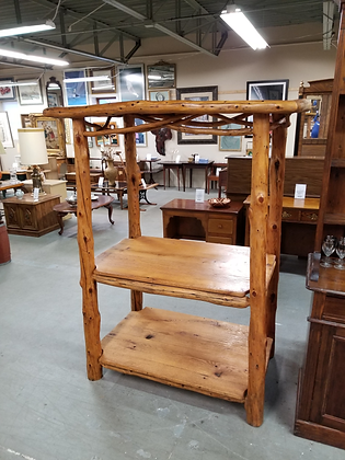 Three Tier Country Rustic Pine Wood Display Storage Shelf