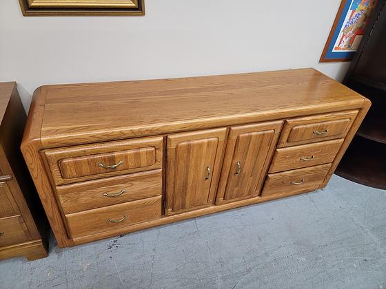 Nine Drawer & Two Door Wide Oak Wood Dresser