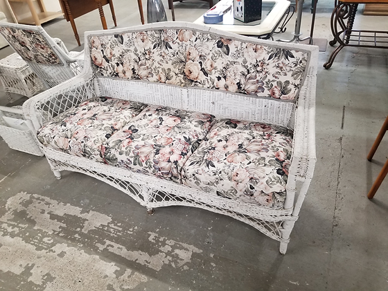 White Wicker Three Seat Sofa Couch With Floral Upholstery