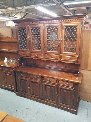 Large Dark Pine Wood China Cabinet Hutch w/ Six Drawers